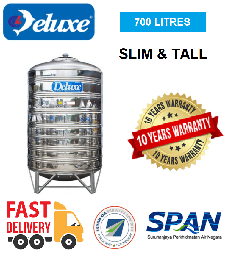 Deluxe Stainless Steel Water Tank Slim & Tall With Stand Round Bottom (700-2400Litres) Tangki Air Warranty Up To 10 Year