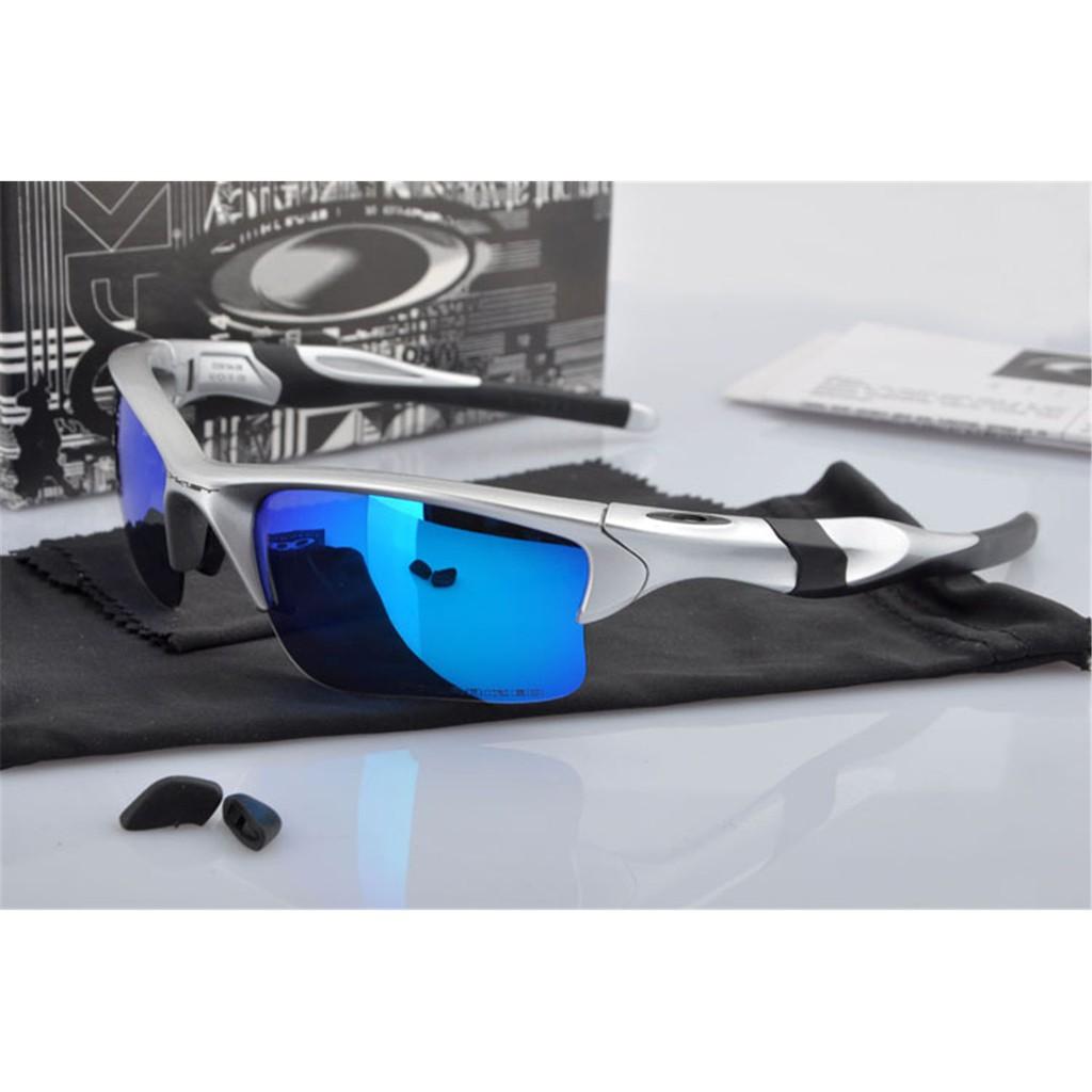 e83e3324456 Sunglasses Oakley Half Jacket Gift Silver Polarized Blue Mercury Iridium  New