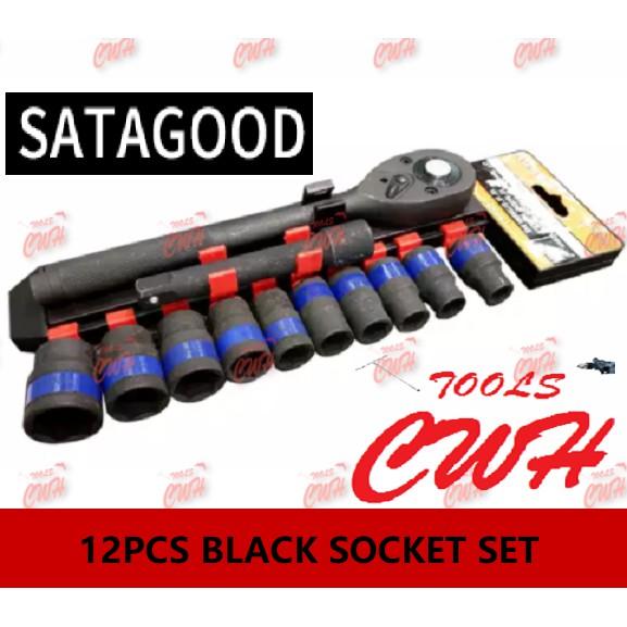 SATAGOOD 12pcs SOCKET Set Ratchet Wrench Socket Set  - - - - - - - - - - -- - - -- -STANLEY TOPTUL KINGTOYO SATA BONDHUS