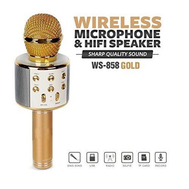 [READY STOCK & FAST SHIP] WS 858 MICROPHONE WIRELESS BLUETOOTH HANDHELD KARAOKE SPEAKER MIC USB HOME KTV MUSIC