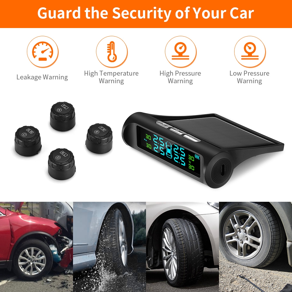 Wireless Tire Pressure Monitoring System with 4 DIY Sensors ZEEPIN TPMS Solar Power Universal Real-time Displays 4 Tires Pressure and Temperature TPMS