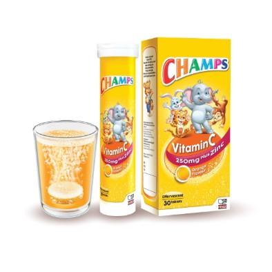 CHAMPS Vitamin C 250mg + Zinc Effervescent 30\'s