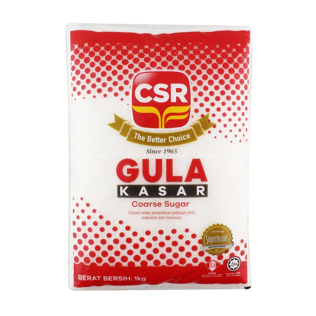 CSR GULA KASAR - COARSE SUGAR 1KG [KLANG VALLEY ONLY]