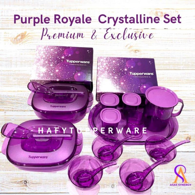 💥READY STOCK💥Tupperware Purple Royale Crystalline Saucy Server 1.8L / Soup Server 2.7L / Bowl with Spoon