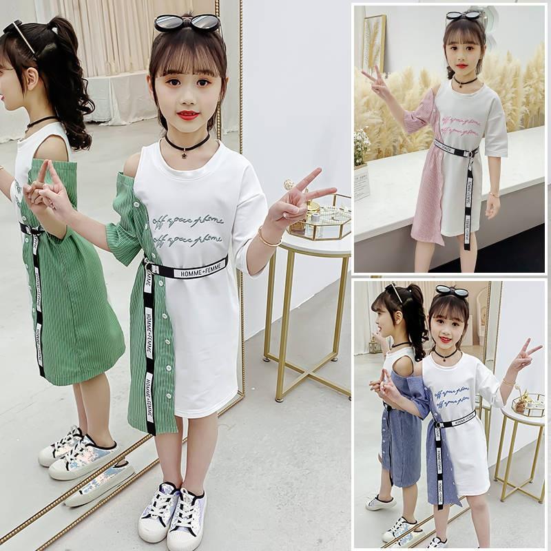 Baju Budak Perempuan Girl Dresses Pakaian Kanak Kanak Perempuan Musim Panas 2020 Gadis Baru Kanak Kanak Pertengahan Umur Fesyen Korea Musim Panas Pakaian Luar Bahu Shopee Malaysia