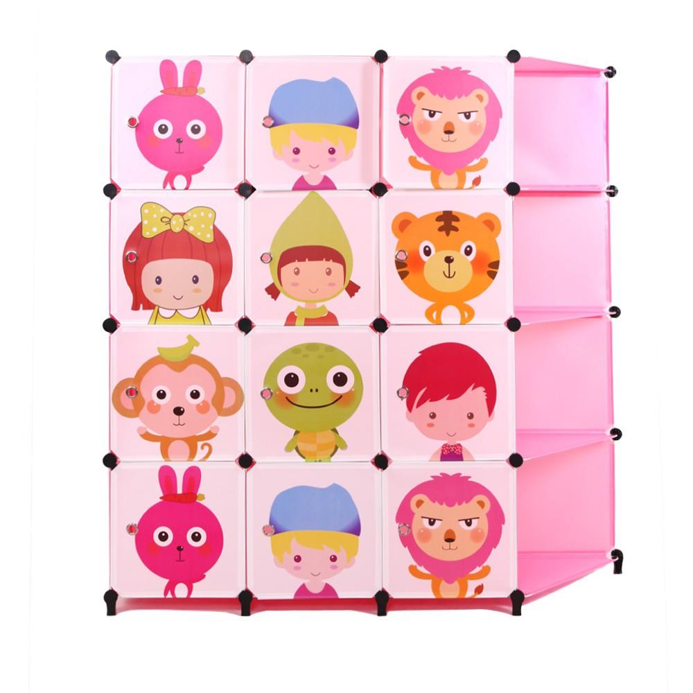 Pink Design Wardrobe 12 Cubes with 4 Corner Shelf Two Hangers LRA0055PK
