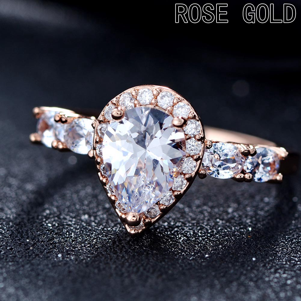 Fashion Branche Femmes Anneaux Rose Gold Filled White Sapphire Ring Taille 6-10