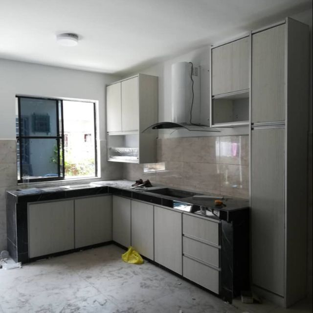 Kitchen Cabinet Finished With Melamine And Aluminium Edging Price Rm200 Per Feet Run Shopee Malaysia