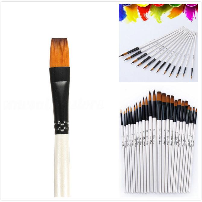 12Artist Paint Brushes Set Acrylic Oil Watercolour Painting Craft Art Design Kit