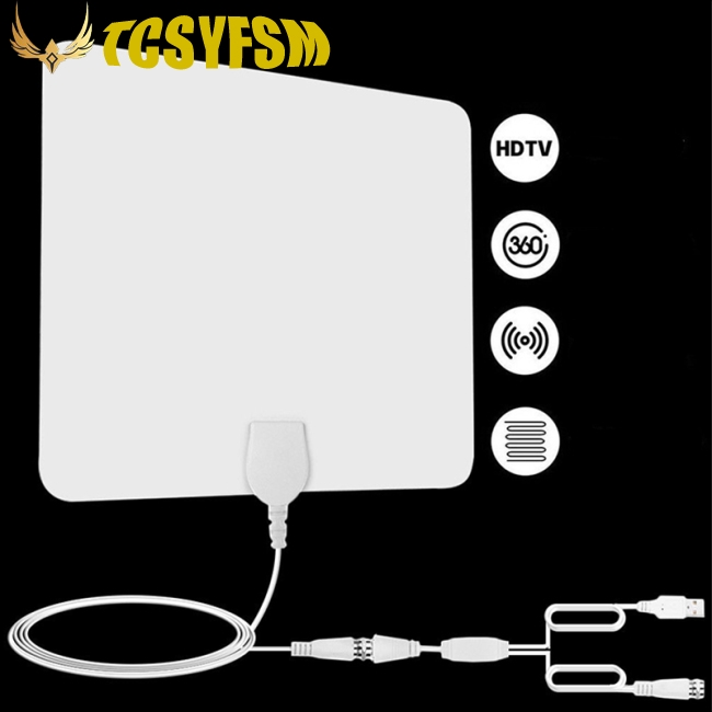 Ready Stock 80 Mile HDTV Indoor Antenna Aerial HD Digital TV Signal  Amplified Booster &Cable