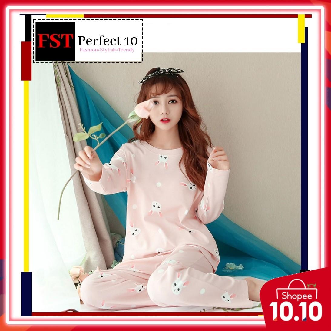 FST Silk Fabric Long Sleeve and Long Pant Pink Rabbit Pyjamas / Set Baju Tidur Elegant design [6046]