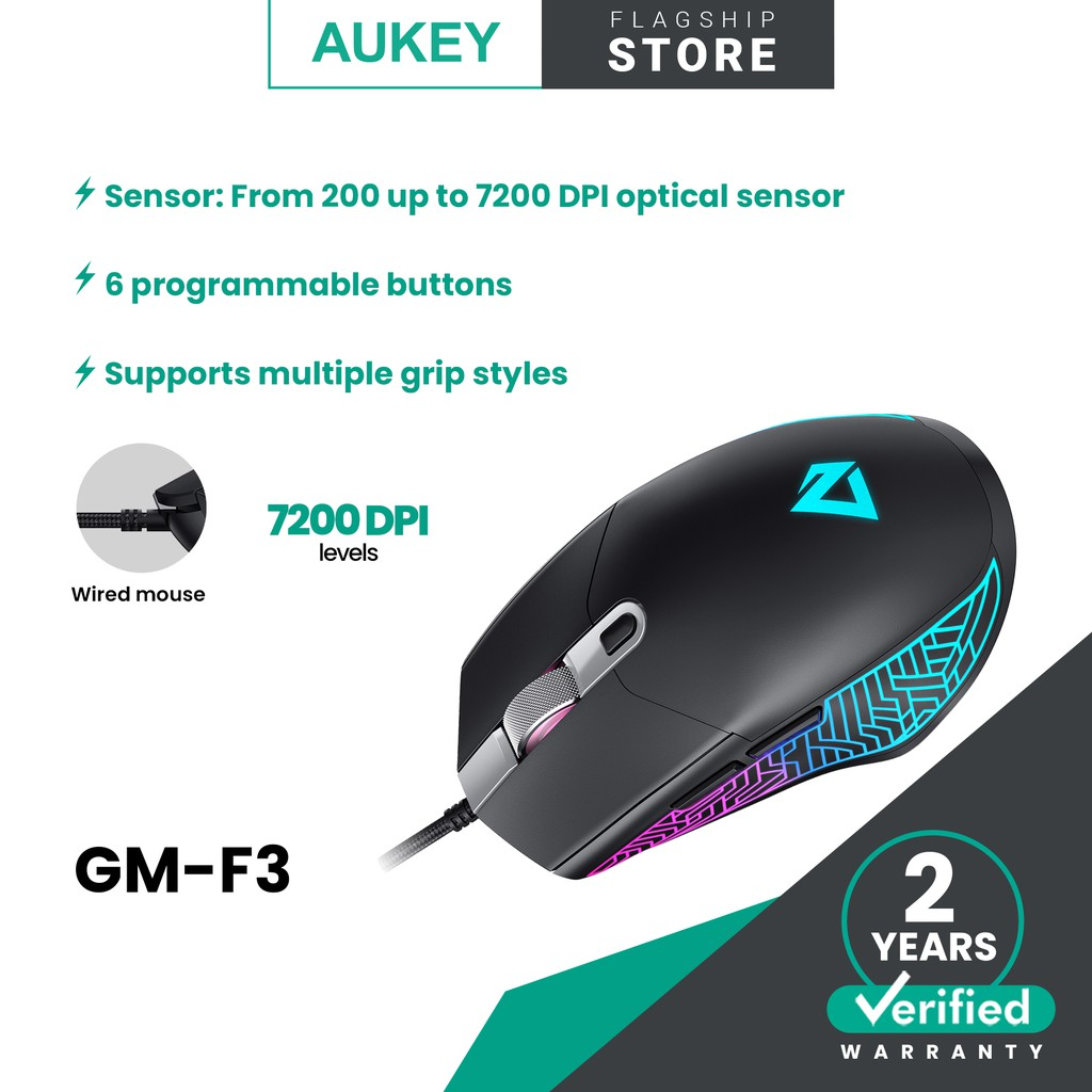Aukey GM-F3 RGB Wired Gaming Mouse with 7200 DPI Optical Sensor, 6 Programmable Buttons, Lightweight Design, and Macros