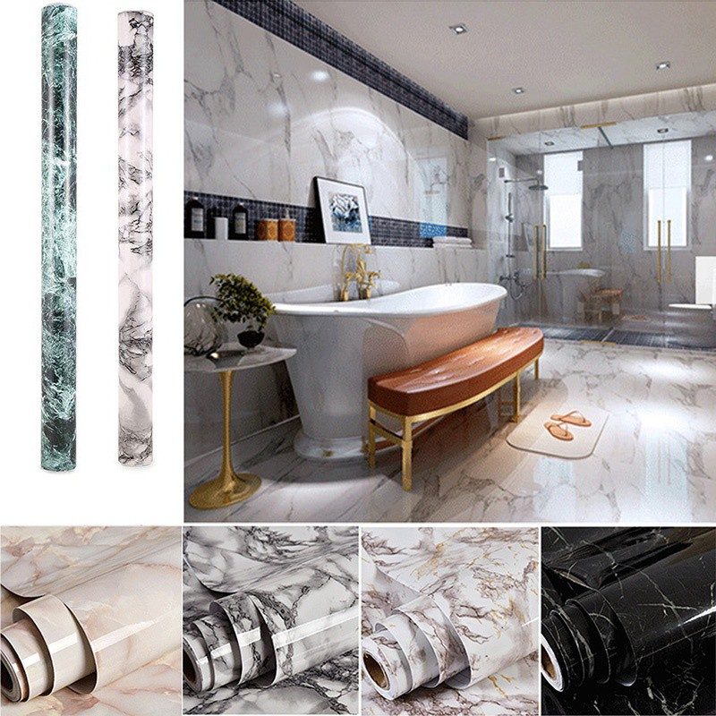 For Self 3d Adhesive Room Lliving Deca Wall Waterproof Marble Bathroom Wallpaper