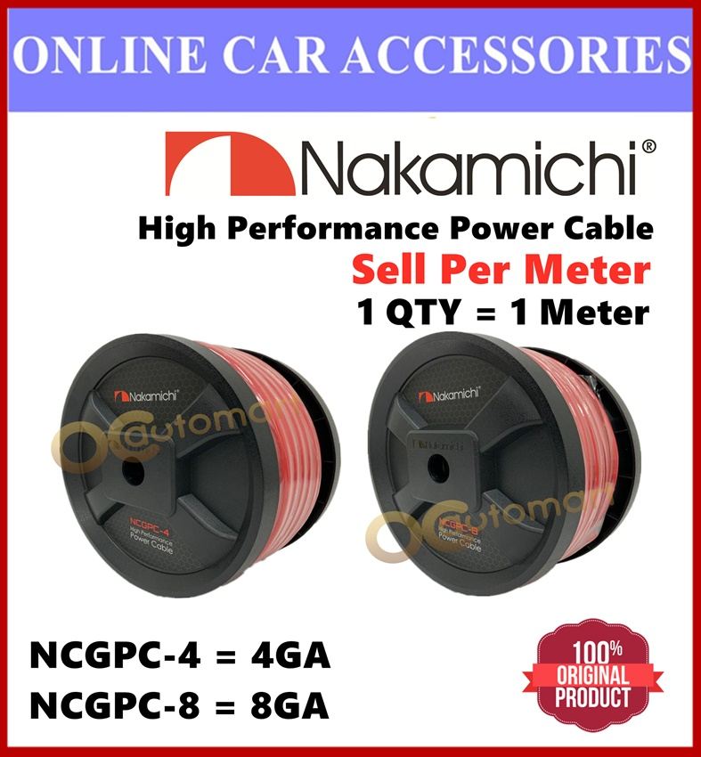 Nakamichi High Performance Car Amplifier Power Cable Power Supply Wire For Amplifier ( Sell Per Meter ) 4GA Or 8GA