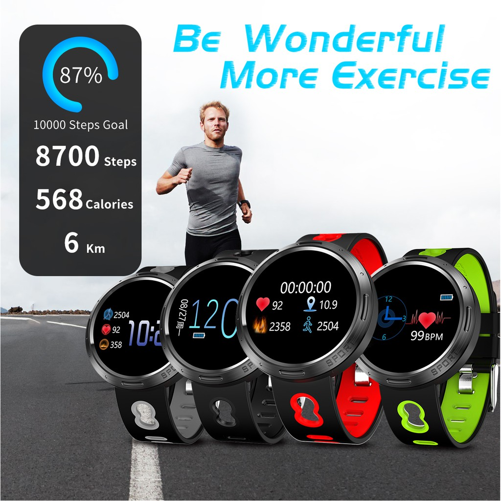 Sport Smart Watch Stainless Steel Shell IP68 Waterproof Heart Rate  Detection Message Multi-language Smart Watch