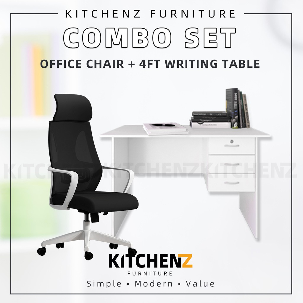 [COMBO] KitchenZ High Back Mesh Office Chair + Writing Table with 1 Locker 2 Drawer