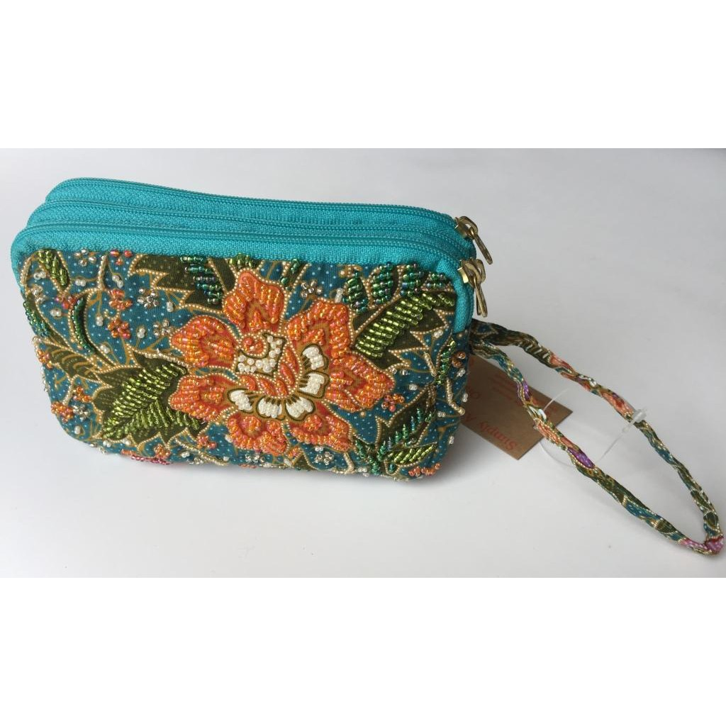 3 Layer Pouch Handmade Beaded Batik Design