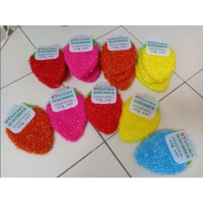 韩国草莓不粘油洗碗巾丝光洗碗布去污刷百洁布清洁 Strawberry polyester yarn dish cloth High Quality Cleaning Cloths Rag hand knitti