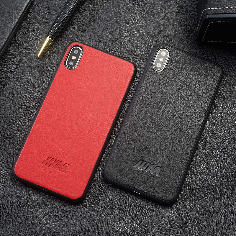 Luxury Leather Car Logo BMW AMG Cover Case For iPhone X XS Max XR 6s 7 8 6 Plus