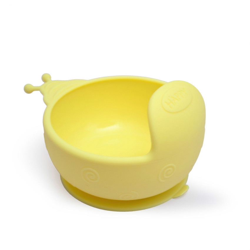 Baby practice eating utensils cartoon auxiliary food bowl silica gel sucker bowl send fork spoon prevent falling bowl