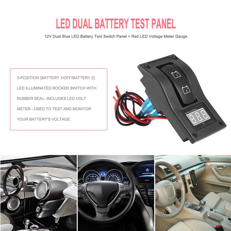 Car LED Battery Rocker Test Boat Voltmeter Switch