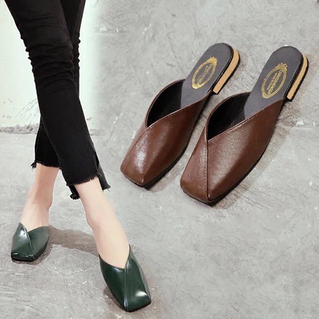 [35~39] Women Square head lazy slippers 方头包头拖鞋女外穿夏新款百搭时尚女鞋平底百搭懒人半拖鞋