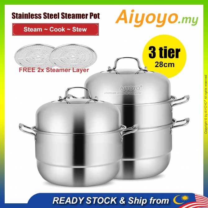 3 Layer Steam Pot Periuk Kukus Pengukus Steamer Cookware Periuk Masak Cooking Cooker Kitchen Stainless Steel Gas Stove U