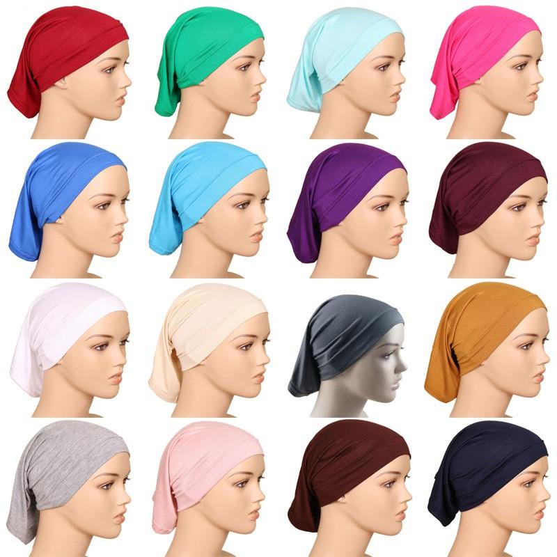 【Ready Stock】Hijab Inner Plain Mercerized Cotton Muslim Underscarf Head Cover Cap Free Size