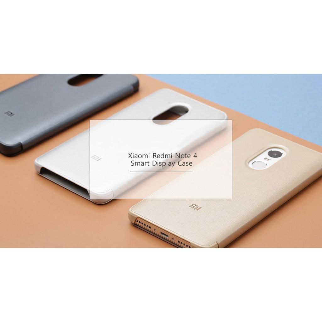 free shipping f3e06 8f12e Original Xiaomi Redmi Note 4 Smart View Flip Case (Gold)
