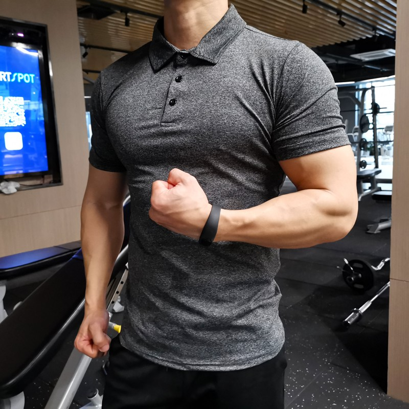 Mens Henley Collar TShirt Wickable Breathable Training Gym Sport Running Top Tee
