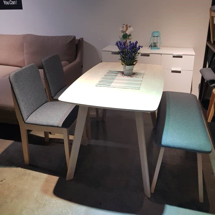 Prkogive Dining Set 1 + 2 + Bench/ Dining Set/ Meja Makan - Natural + Grey