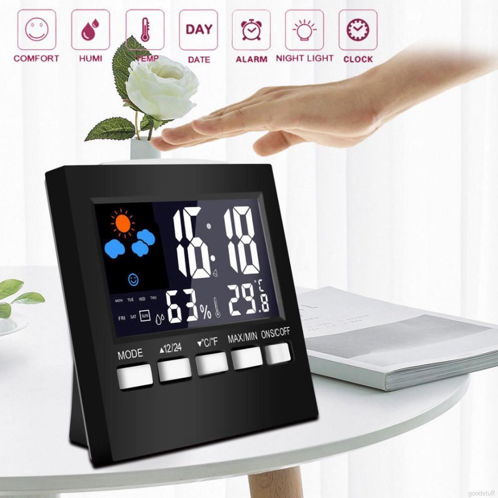 Digital Display Thermometer Humidity Clock Colorful LCD Clock