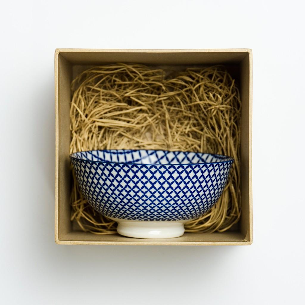 11.5cm Japanese Geometric Lattice Pattern Bowl Ceramic Bowl Mangkuk Jepun 日式古典风陶瓷碗