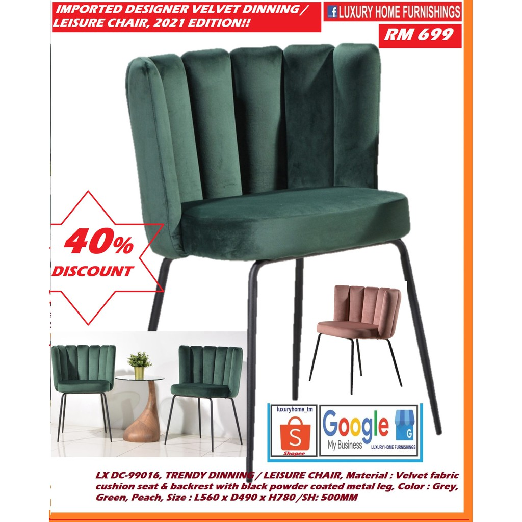 Velvet fabric cushion seat & backrest with black powder coated metal leg CHAIR,  Color : Grey, Green, Peach, IMPORTED