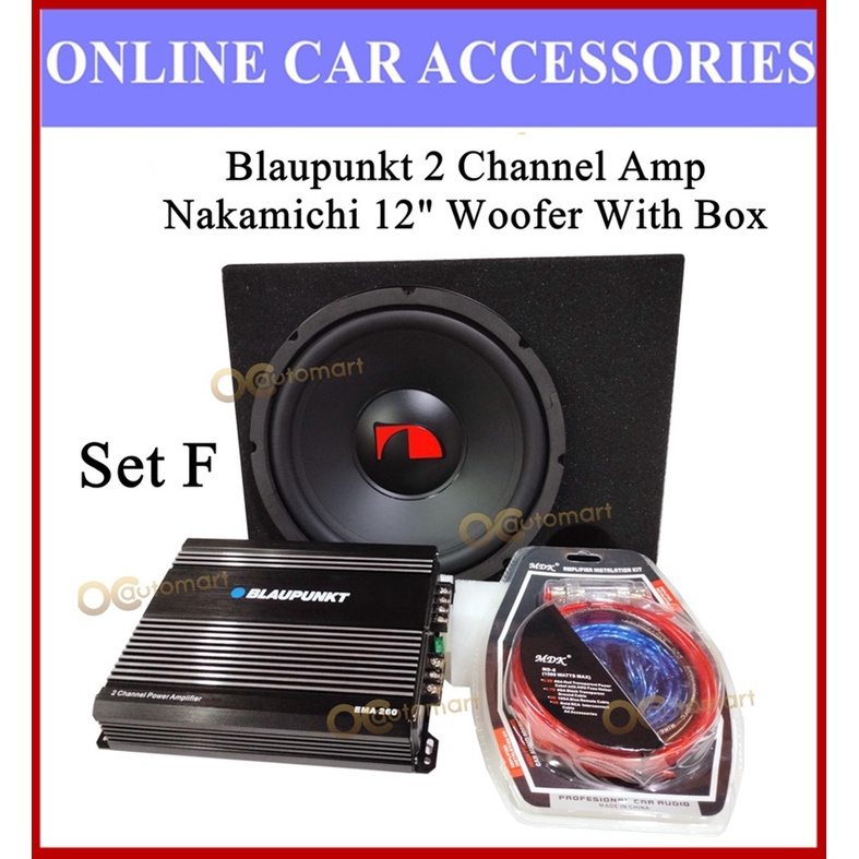 """BOSOKO Nakamichi Roadmark Blaupunkt Carrozzeria 2 Channel AMPLIFIER 12"""" woofer with box Power Cable Wiring Subwoofer"""