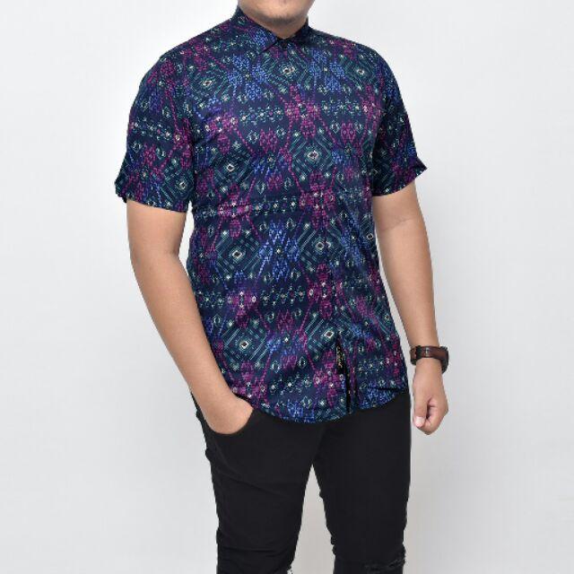 Navy Snow Baju Kemeja Songket Batik Shirt Lengan Pendek Slim Fit