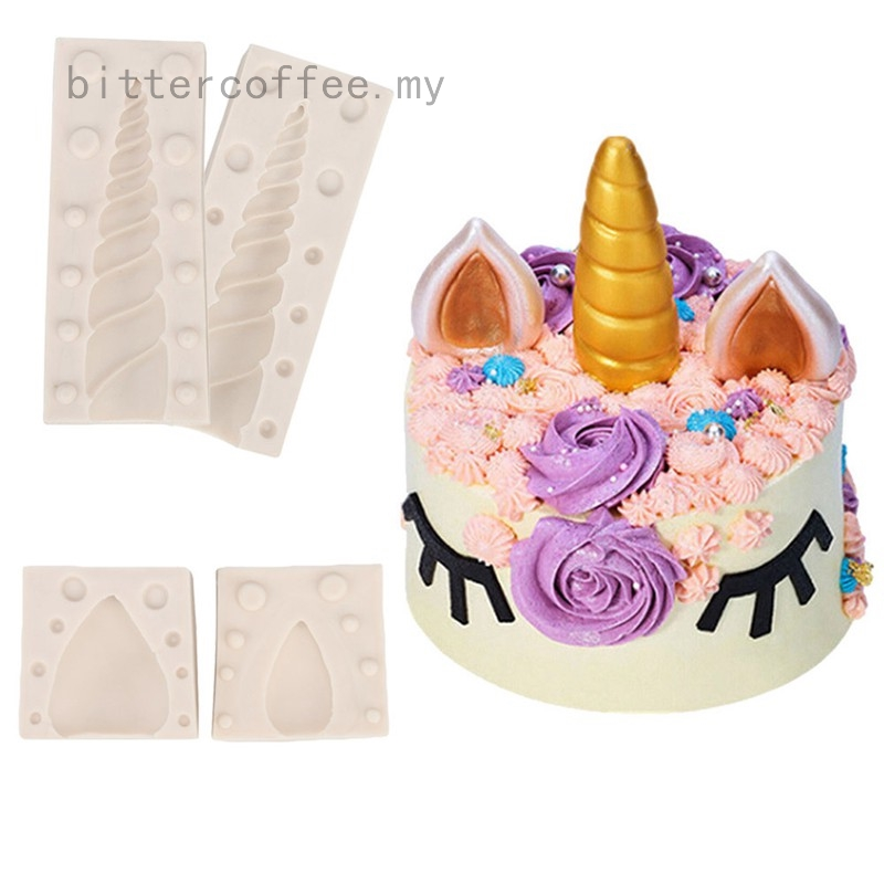 Unicorn Ear Eyebrow Horn Silicone Mold Birthday Cake Fondant Decorating Tools