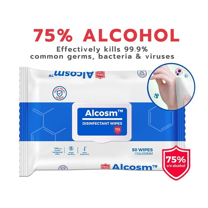 Alcosm 75% Alcohol Disinfectant Wipes 50s