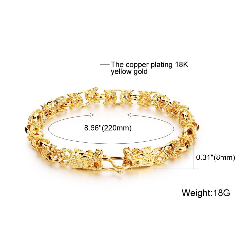 499f2363993d3 Luxury Gold Color Mans Bracelets Punk Style Dragon Heads Mens Jewelry Link  Chain