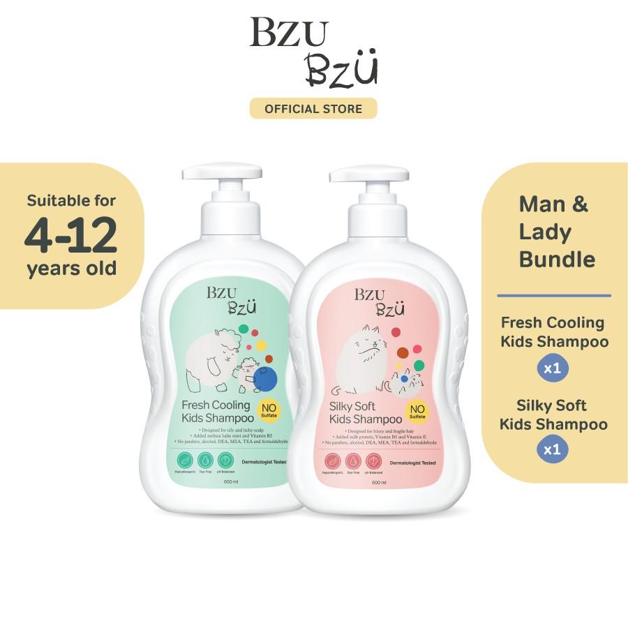 BZU BZU Man & Lady Bundle - Fresh Cooling Kids Shampoo (600ml) + Silky Soft Kids Shampoo (600ml)