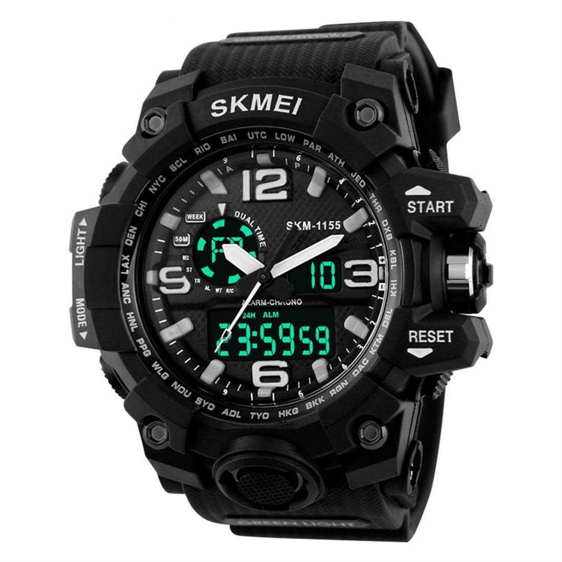 SKMEI 1155 Men Sports Watch Luminous Digital LED 5ATM Waterproof Men Watch (Black)