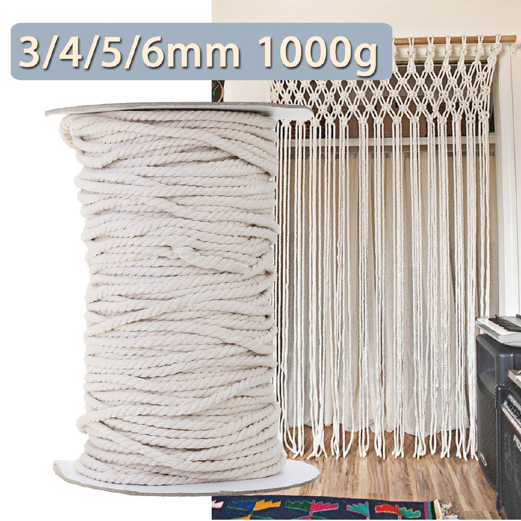 3mm /& 100m Natural Colour Cotton Twisted Cord Rope Artisan Macrame String Crafts