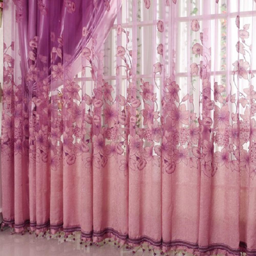 2pcs Morning Glory Floral Printed Sheer Voile Tulle Drapes Windows Curtains