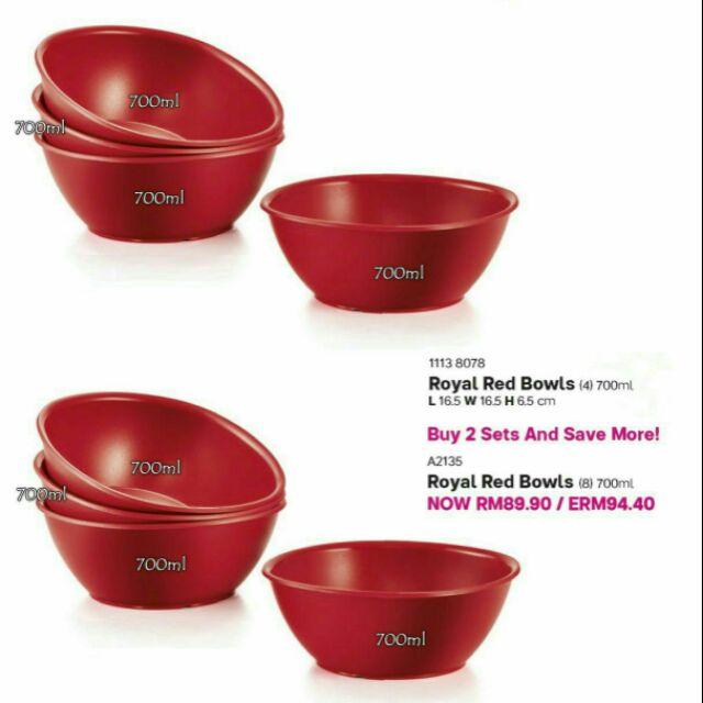 Tupperware Royal Red Bowls 700ml