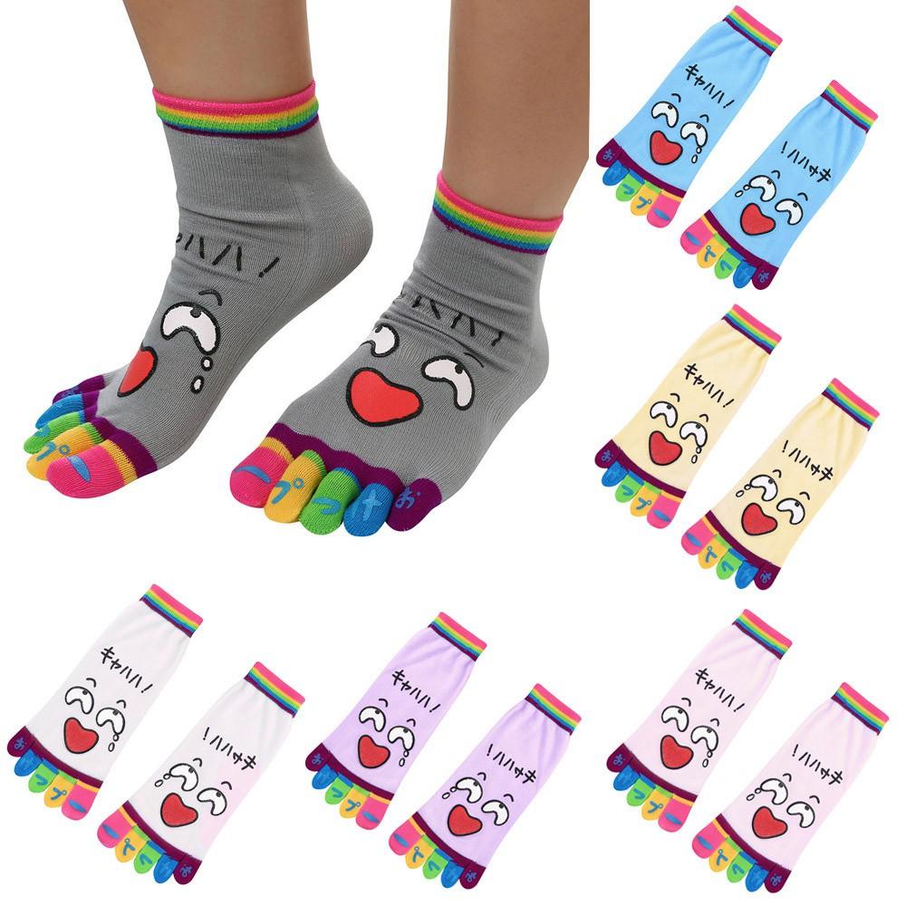 New Kids Toe Socks Girls Boys Cute Emoji Five Fingers Sock Breathable Hosiery