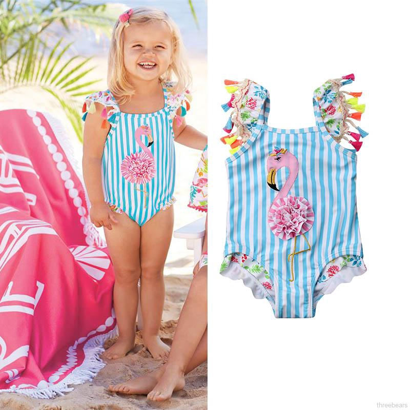 Baby Girls Kids Embroidered Halter Flamingo Swimsuit One Piece Bathing Suit
