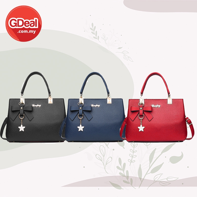GDeal Fashion Woman Hand Shoulder Bag With Ribbon Flower Accessory Diagonal Crossbody With Strap Beg Wanita بڬ وانيتا