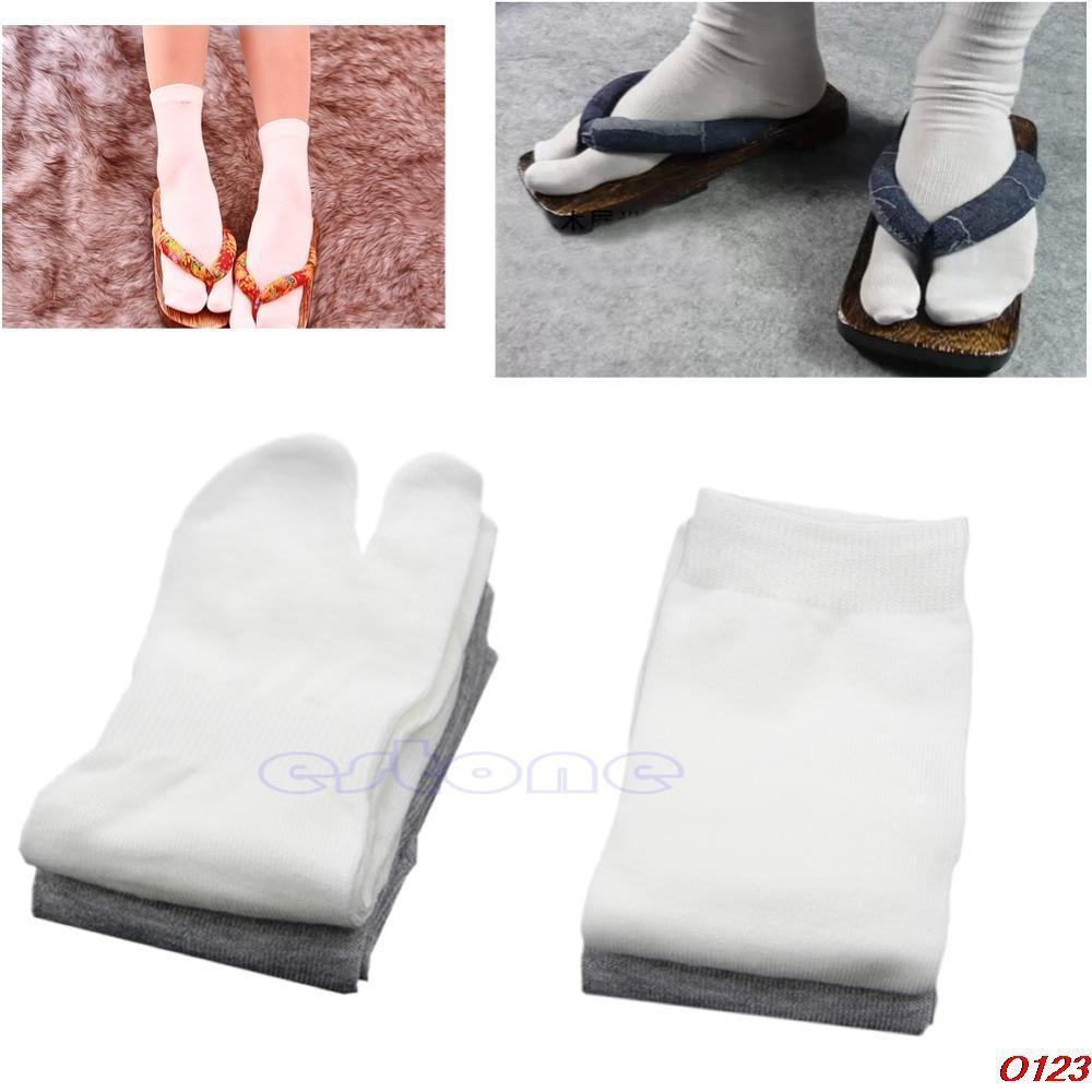 Pair Footful Unisex Split 2 Toe Long Socks Flip Flop Tabi Geta Cosplay Stockings