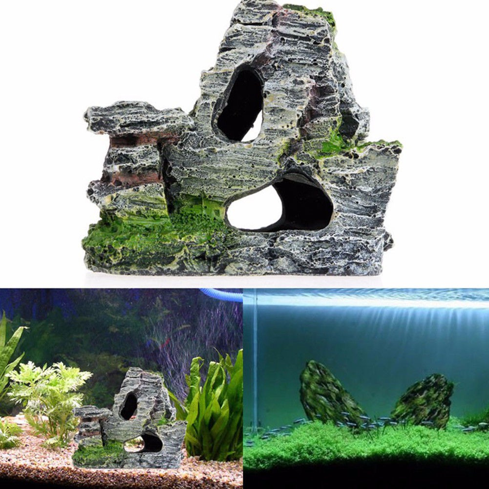 Mountain Natural View Aquarium Rockery Hiding Cave Fish Tank Ornament Decoration