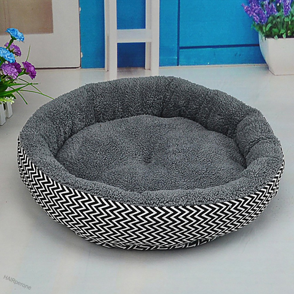HAIRperone Soft Flannel Pet Dog Puppy Cat Kitten Pig Round Warm Bed Home House Cozy Nest Mat Pad with 3D PP Cotton Filli